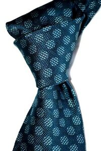 """$250 NWT TOM FORD Dark Teal Green w/ white mesh spots 3.75"""" woven silk tie ITALY"""