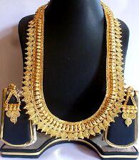South Indian Gold Plated Belt Surya Haar 10'' Long Wedding Necklace Earrings Set