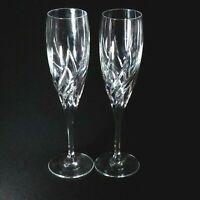 2 (Two) Da VINCI PISTOIA Cut Lead Crystal Champagne Flutes Made in Italy