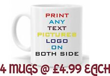 4 x Personalised Mug Any Text Message Logo Image Picture +  free Delivery