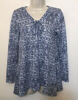 Fred David Small Shirt Blue Knit Long Sleeve Relaxed Fit V-Neck Tunic Sweater