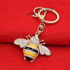 Womens Key Chain Bee Honeybee Crystal Pendant Purse Bag Charm Handbag Keyring