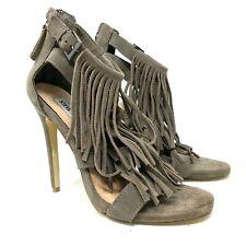 Steve madden Barbiee suede leather fringe boho stilleto heels taupe size 8