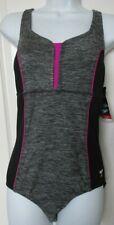Speedo one piece swimsuit Size 8 Gray and Black