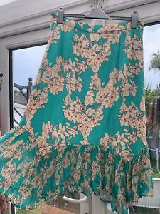 ANTHROPOLOGIE BL-NK London Turquoise Floral Frill Asymmetric Hem MIDI SKIRT XL
