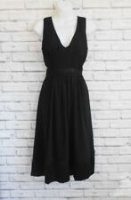 Beautiful Black Chiffon Empire Midi Dress Size 8
