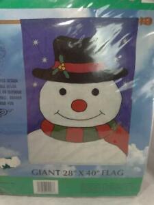 "Christmas Flag Snowman Giant 28"" X 40"" Flag Holiday Yard Decoration Vintage 1995"