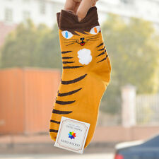 3d Animals Striped Cartoon Socks Women Lady Girl Cat Footprints Cotton Socks Hot Yellow