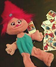 New DreamWorks Trolls Build A Bear Poppy Plush Dress Pink Doll Certificate Condo