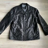 Guess Mens Jacket XL Black Leather Mens Button Blazer Butter Soft