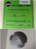 PIER Armaturen DN40/40 Pb-Folie D= 54 mm x 0,03mm Dicke aus Blei Pb 1 Stk