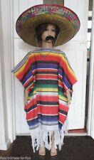 BOYS MEXICAN PONCHO SOMBRERO MOUSTACHE COSTUME CHILDS