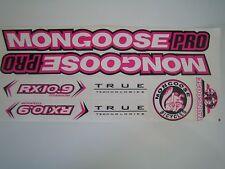 Mongoose PRO RX 10.9 Titanium Stickers  White, Pink & Black.