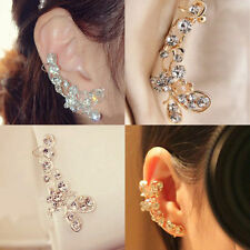New Gold & Crystal Ear Cuff Earring Clip On Butterfly Latest Hot Celeb Trend