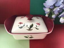 "Wedgwood "" Mayfield "" Ruby Cream China Deep Butter Dish & Original Lid."