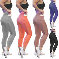 Damen Leggings Push Up Sport Yoga Fitness Leggins Jogginghose Hose mit Tasche 40