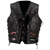 VEST w/ 14 Patches Mens Black Genuine Leather Motorcycle US Flag Eagle Biker MC