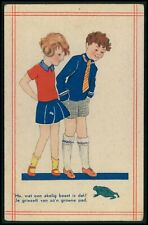 child boy and girl and Frog original old 1910s postcard