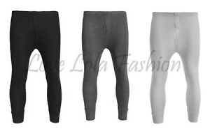 Mens Thermal Long Johns Brushed Lined Ribbed Leggings Warm Layer Winter