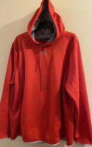 Under Armour Mens Large Hoodie Storm1 Sweatshirt Loose Red Water Resistance