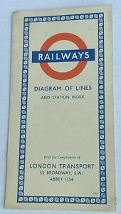 1955 ORIGINAL LONDON UNDERGROUND DIAGRAM OF LINES TUBE POCKET MAP HARRY BECK