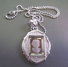 "BRILLIANT 18"" CHAIN CZ ROUND MIRRORED CAMEO VICTORIAN LADY PENDANT  NECKLACE"