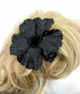 Large 12cm Black Hair Poppy Fascinator Clip