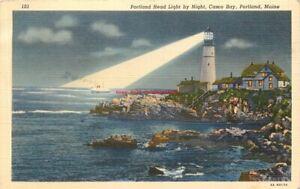 ME, Portland, Maine, Casco Bay, Head Light, Curteich