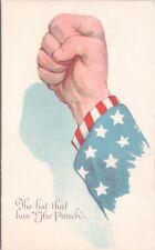 Postcard WWI Anti-German Propaganda US Uncle Sam Fist Very Nice Card F4