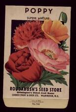 1930's POPPY FLOWER SEED PACKET ROUDABUSH'S SEED STORE