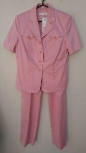 NWT ESCADA Pink Cotton Blend,Short Sleeves Women's Pants Suit,Size EU42-46/US L