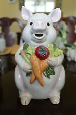 Vintage Fitz Floyd Percy The Pig Vegetables Pitcher 1993 1.5 Quart Collectible