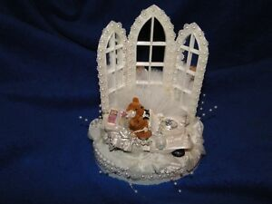 New Chapel Mirrored Windows Wedding Cake topper with Teddy Bear Couple White Car