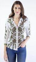 💕 JOHNNY WAS Embroidered Flowers 3J Workshop CAYDEN Blouse Shirt S $238 💕
