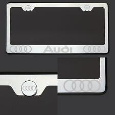 T304 Chrome Polished Audi Laser Etched Engraved License Plate Frame Tag ScrewCap