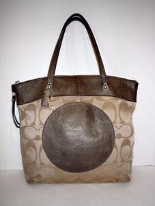 NWT Coach F18335 Laura Signature Logo Tote Bag-Large Shopper Bag -Khaki / Copper