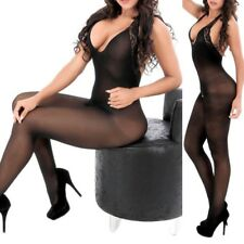 Sexy Women Halter Lace Sheer Open Crotch Body Stocking Bodysuit Lingerie Dress