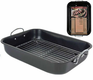 Large Roasting Tray With Rack Baking Tin Cooking Oven Dish Bakeware Non Stick