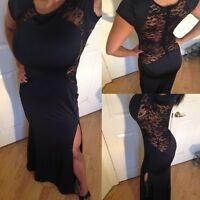 Connie's Cap Sleeve Black Maxi Dress with See Thru Black lace back detail  XL