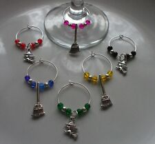 Witch  & Broomstick Wine Glass Charms Multi x 6 + Gift Bag Harry Potter Theme