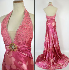NWT Jovani Size 8 Prom Formal Evening Long $500 Floral Halter Gown Pink Lace NEW