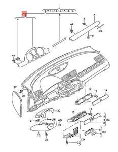 Genuine VW Trim Combi-Instrument Alu/Brushed Stainless Steel 3C8858366FZQW