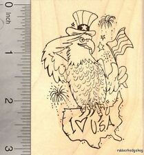 4th of July Eagle Rubber Stamp Patriotic American Flag and The USA  K17512 WM