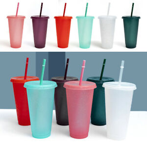 UK Reusable Flash Powder Shiny Plastic Water Bottle Cold Cup With Lid And Straw