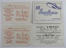 4 VTG Acapulco Mexico Advertising Business Cards Sombrero Shopping Center Gold