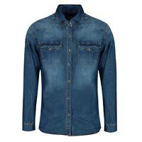 Camicia Jeans Uomo Slim Fit Manica Lunga Blu Denim Casual S M L XL XXL