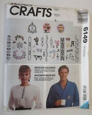 McCall's 6149 Sewing Pattern 'Delicate Accents' Embroidery Transfer Motifs UC