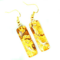 Murano Glass Drop Earrings Orange Amber Coloured Handmade Authentic Venetian