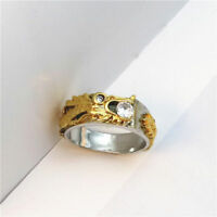 Dragon Sapphire Gold Color Domineering Men's Rings Alloy Size 6-10 White Band