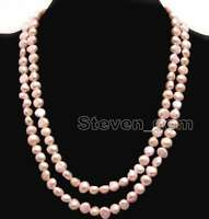 8-9mm Baroque Natural Freshwater Light Pink Pearl Necklace for Women Long 40""
